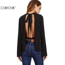 Wholesale Open Flare - Wholesale- COLROVIE T Shirt Women Long Sleeve Famous Brand Women Shirt Black Bow Tie Open Back Side Slit Bell Sleeve T-shirt