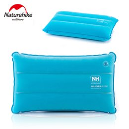 Wholesale Train Pillows - Wholesale- Naturehike Camping Foldable Inflated Pillows Outdoor Bus Train Plane Sleep Travel Kit Suede Fabric Folding Non-slip Nap Pillow