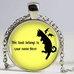 Wholesale Fly Quotes - Flying Cat Pendant Necklace Your Name Here Quote Silver Crescent Moon Shape Vintage Necklace Women Jewelry Bijoux Men Gift