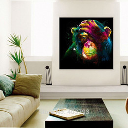 Wholesale Monkey Oil Painting Canvas - Wall Art Hand Painted Oil Painting No Framed Colorful Year of Monkey Painting on Canvas Modern Animals Picture for Living Room