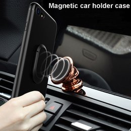 Canada Magnetic Metal Suction Car Mount Case 360 ​​degrés Rotation Ring Grip Stand Holder Cover givré TPU Shell pour iPhone 7 6 6s Plus Offre