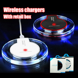 Wholesale Chinese Crystal Lighting - Wireless Charger Portable Crystal Universal Qi LED Lighting Charging Receiver For Samsung galaxy S6 S7 edgeg S8 Plus With retail Box