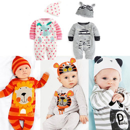 Wholesale Wholesale Long Sleeved Baby Rompers - Wholesale-2019 spring autumn kids clothes new born baby girls boys rompers+hat long-sleeved jumpsuit infant clothing set 2PCS 0-24M