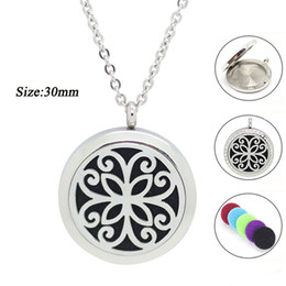 Wholesale Crystal Aromatherapy - Panpan jewelry! 20mm 25mm 30mm silver essential oil diffuser pendant necklace 316l stainless steel perfume locket aromatherapy pendant