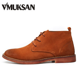 Wholesale Chukka Boots - Wholesale- VMUKSAN Men Leather Boots Suede Fashion Lace Up Chukka Boot Moc Toe 2016 New Mens Dress Boots Man Shoes