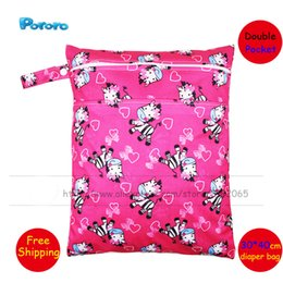 Wholesale Double Row Snap Diapers - Wholesale- 30*40cm Cloth Diaper Bag Double Pocket Snap Fastener Waterproof Wet Bag Double Row Zipper Print Pocket Diaper Nappy Insert Bag