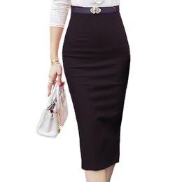 Wholesale High Waist Slit Skirt - High Waist Pencil Skirts Plus Size Tight Bodycon Fashion Women Midi Skirt Red Black Slit Women's Skirt Fashion Jupe Femme S 5XL