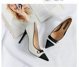 Wholesale Patchwork Tips - 2017 autumn sexy stitching high heels size 34-39 tip fine with the women's shoesnew fashion shallow pumps