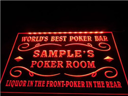 Wholesale Poker Decor - tm16 Name Personalized Custom World's Best Poker Room Liquor Bar Beer Neon Sign hang sign home decor crafts