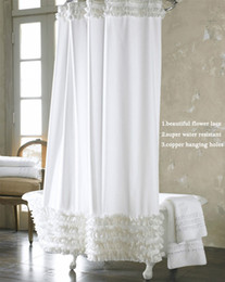 Wholesale Original Curtain - Wholesale- 2017 Original Fashionable Shower Curtain Water Resistant Polyester Fabric Lace Bathroom Shower Curtain With 12 Hook 1.8 x 1.8M