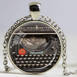Wholesale Alloy Keyboard - VINTAGE TYPEWRITER PENDANT Writer Gift for Writer Typewriter Jewelry Writer's Necklace Black Red Gray Vintage Keyboard Jewelry