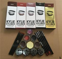 Wholesale Gel Liner Wholesale - New Kylie Cosmetics brithday edition kylie kyliner eyeliner and gel Gel pot Brush liner 6 types black  brwon chameleon bronze ship free