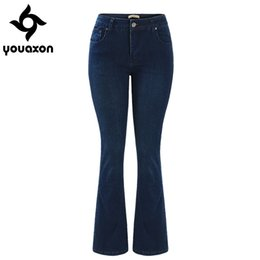 Wholesale Denim Boots Women S - 2029 Youaxon Women`s Fashion Fall Winter Mid High Waist Ultra Stretch Flare Denim Boot Cut Jeans Woman Dark Blue Jean Pants