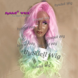 Wholesale Rainbow Hair Flowers - Sexy Mermaid Rainbow Flower Colorful Hair Front Lace Wig Heat Resistant Hair Big Fringe Indian Virgin Body Wave Hair Lace Front Cosplay Wigs