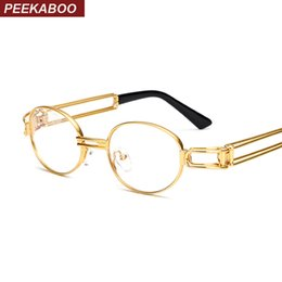 Wholesale Clear Framed Nerd Glasses - Wholesale- Peekaboo retro clear lens nerd glasses frames for men male oval small round eyeglasses for women gold metal hollow 2017