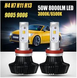 h7 led giallo Sconti H4 H13 Hi-Lo Beam H7 H11 9005 9006 Fascio singolo 50W LED Car Faro Lampadina Fendinebbia Luce gialla bianca 3000K 6500K