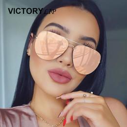 Wholesale Wholesale Aviation - Wholesale- Fashion Rose Gold Sunglasses Women Aviation Mirror Brand Designer Metal Frame Sun Glasses Mirror Flat Lens Pilot Hot Dropship