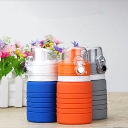 Wholesale Cup Retractable - Silicone Folding Water Bottle 500ML Foldable Outdoor Travel Retractable Collapsible Cups Outdoors Traveling Sport Cycling Drinkware OOA2077