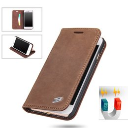 Wholesale Plastic Business Card Cases - Magnetic Suction Leather Business Flip Cover With Card Slot Kickstand Case For Samsung S8 plus Iphone 7 6s 6 plus With Retail Package