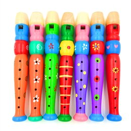 Wholesale Clarinet Flute - Wooden flute clarinet cartoon wooden children 6 hole small Piccolo playing instruments infant toys