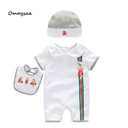 Wholesale Girl Romper Headband - new arrival summer brand baby romper set hat and bibs kids baby romper boy girl set shorts set clothing