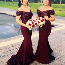 Wholesale Sexy Colors Chart - Bling Off Shoulder Bridesmaid Mermaid Dresses Pleat Ruched Sexy Custom Made Many Colors Jersey Prom Gown