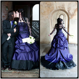 Wholesale Medieval White Wedding Dress - 2017 Wedding Dress Black and Purple Bridal Gowns Long Sleeve Vintage Medieval Gothic Masquerade A Line Ball Halloween vestido de