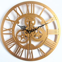 Wholesale Rustic Wall Clocks - Vintage Style Oversized 3D Gear Clock Retro Rustic Decorative Silver Art Big Gear Large Wall Clock for Best Gift