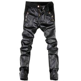 Wholesale Leather Pants 36 Men - Wholesale-2016 New Arrival PU Men's Leather Pants Casual Slim Fit Fashion Solid Skinny mens trousers 9 Colors 28-36