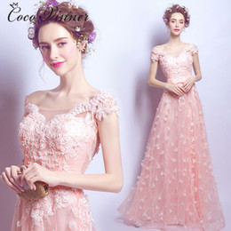 Wholesale Illusion Dinner Dresses - C.V 2017 NEW long evening dress Pink petal lace bride dress formal evening dress dinner estido de festa evening dresses long E0054