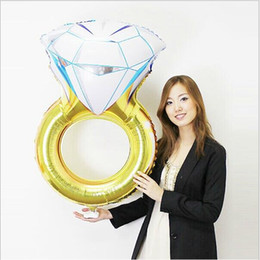 Wholesale Wedding Proposal Rings - 43 Inches Valentines Day Gift Diamond Ring Balloon 2017 New Fashion Party Wedding Decorations Balloon Gifts Make A Proposal