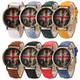 Wholesale Uk Fabric Wholesalers - Wholesale- Men's Women's Vintage Bronze Denim UK Flag Guitar Analog Quartz Dress Wrist Watch 1PX1 235O