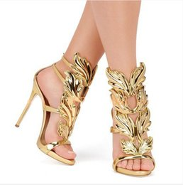 Wholesale Sexy Golden High Heels - wholesaler free shipping Golden super high heels show thin peep-toe sexy female 2017 summer cool boots new Roman sandals 214