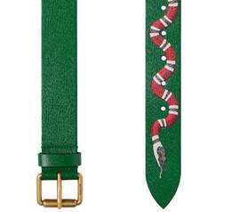 Wholesale Designer Casual Womens - New Green color Luxury High Quality Designer Belts Fashion snake animal pattern buckle belt mens womens belt ceinture G optional attribute