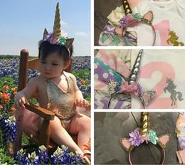 Wholesale Sequin Hair Flowers - Baby Unicorn Horn Hair Decorative Accessoriess New Cartoon Sequin Ear Flower Girls Birthday Party DIY Hair Halloween Headband C1499