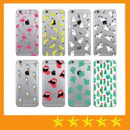 Wholesale Banana For Iphone - Summer Cactus Lips Flamingo Fruit Banana Unicorn Transparent Soft TPU Clear Case for iPhone 7 6 6s Plus 5 5S SE
