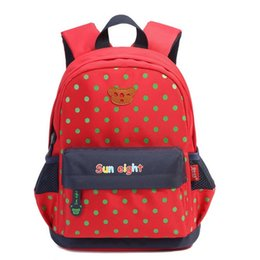 Wholesale Old Books Children - Sunny Eight Clock Kindergarten Primary School Kids Backpacks Children School Book Bags in Blue Red color dot for 2-6 Years old Boy girl