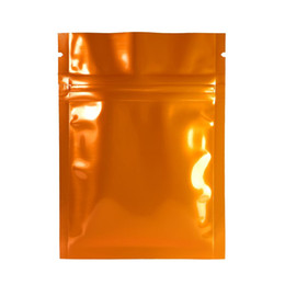 """Wholesale Resealable Food Pouches - High Quality 7.5x10cm (3x4"""") 100pcs Glossy Orange Tear Notch Small Package Pouch Aluminum Mylar Resealable zip lock bags"""