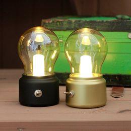 Wholesale British Lamp - British retro LED bulb light lamp Metallic glass usb lamp atmosphere rechargeable energy saving night light indoor lighting gift ZJ0328