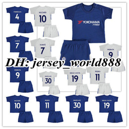 Wholesale Child Gold - 17 18 kids Chelsea home blue soccer Jersey Kits PEDRO FABREGAS HAZARD DIEGO COSTA MORATA KANTE WILLIAN Away white child youth Football Shirt