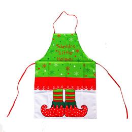 Wholesale Xmas Aprons - 5pcs lot 2017 New Christmas Decoration Apron Navidad Natal Printing Snowflake Elf Boot Pattern Pinafore Xmas Dinner Table Party Decor