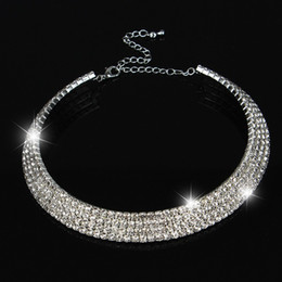 Wholesale Silver Diamond Heart Choker Necklace - Wedding Choker Necklace Women Stunning Full Diamond Crystal Rhinestone Choker Necklace Wholesale Bridal Jewelry for Women
