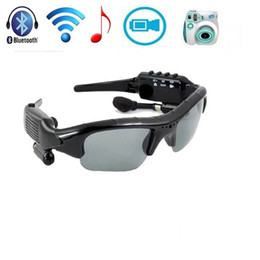 Wholesale Electronic Sunglasses - 8GB Bluetooth Sunglasses Camera 4 in 1 MP3 Player DVR Mini Camera Camcorder Video Recorder Good Quality Free Shipping