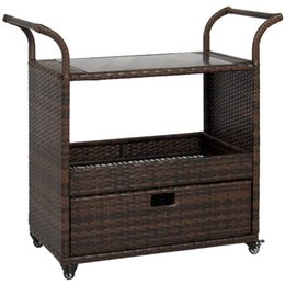 Wholesale Wicker Rattan Outdoor - Best Choice Products Outdoor Patio Wicker Serving Bar Cart