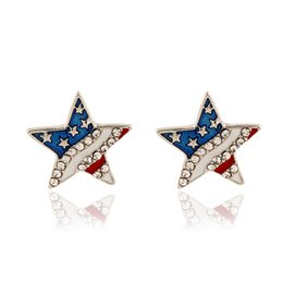 Wholesale Unique Gem Jewelry - 2017 punk silverl stud earrings for women Jewelry Fashion club Five-pointed star gem ornament crystal American flag unique earring wholesale