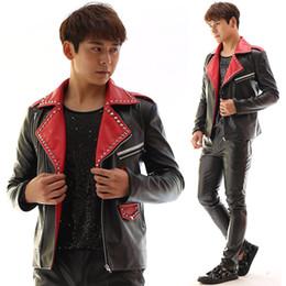 Wholesale Customized Leather Jackets - Plus Size Customized Men's Jacket Black PU leather Rivets Slim Costume Male Dj Singer Stage Performance Wear Outerwear Blazer