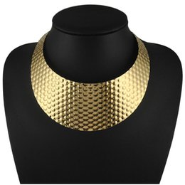 Wholesale Wide Necklace Choker Collar - Wholesale Punk Gold Honeycomb Design Torques Chokers Fashion Women Wide Neck Fit Bib Wide Collars Necklaces Statement Jewelry