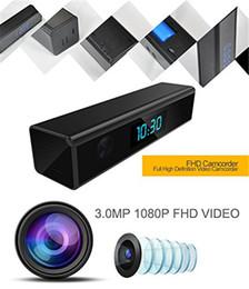 Wholesale Digital Outdoor Security - HD Wifi Clock IP Camera 1080p Night vision Clock Hidden Spy Camera Digital Clock Motion Activated Video Recorder home Security Network DVR