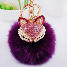 Wholesale Coin Key Rings - 19 Color Cute Bling Rhinestone Fox Real Rabbit Fur Ball Fluffy Keychain Car Key Chain Ring Pendant For Bag Charm 12 pcs free shipping