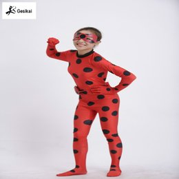 Wholesale Child Catsuit - Kids Zip The Miraculous Ladybug Cosplay Costume Halloween Girls Ladybug Marinette Child Lady Bug Spandex Full Lycra Zentai Suit and wigs